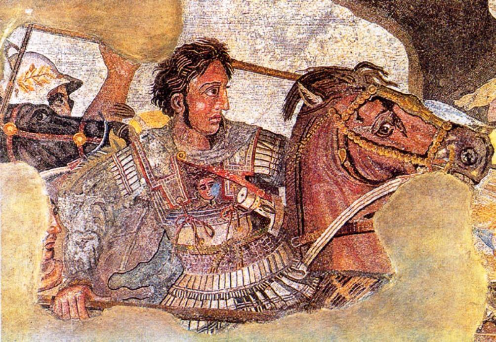 Fragment uit een mozaïek uit Pompeii uit de eerste eeuw v.Chr. met Alexander de Grote en Darius III.