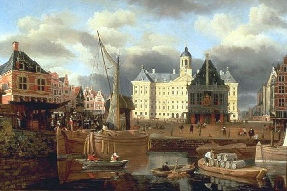 Foto: Bedrijvigheid bij de Dam in Amsterdam in 1668. Schilderij van Jan van Kessel.