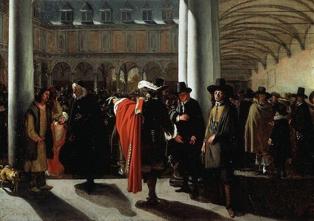 De binnenplaats van de beurs in Amsterdam, 1653, door Emanuel de Witte. (collectie: Museum Boijmans Van Beuningen)