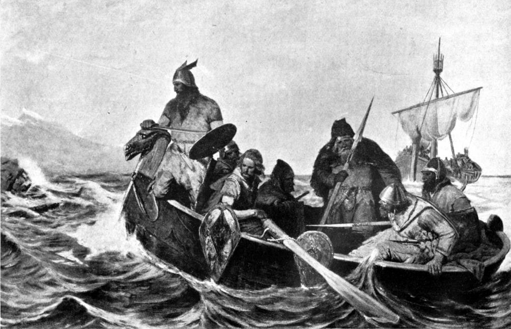 Noormannen arriveren op IJsland. (Illustratie: Myths of the Norsemen from the Eddas and Sagas, 1909.)
