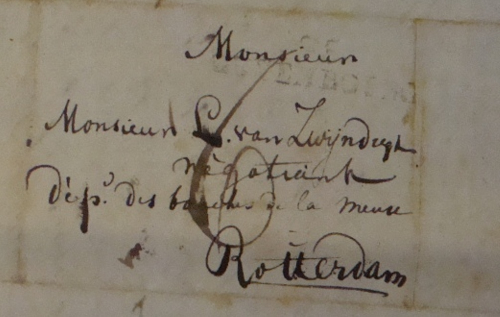 Adres in Rotterdam uit een van de brieven van de Rotterdamse gardes.