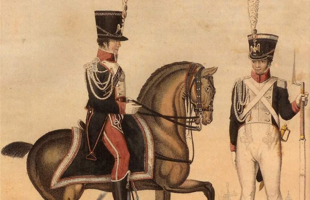 Twee Nederlandse gardisten in uniform (foto: W.F. Lichtenauer - De Nederlandse in Napoleon's Garde d'Honneur, 1971)