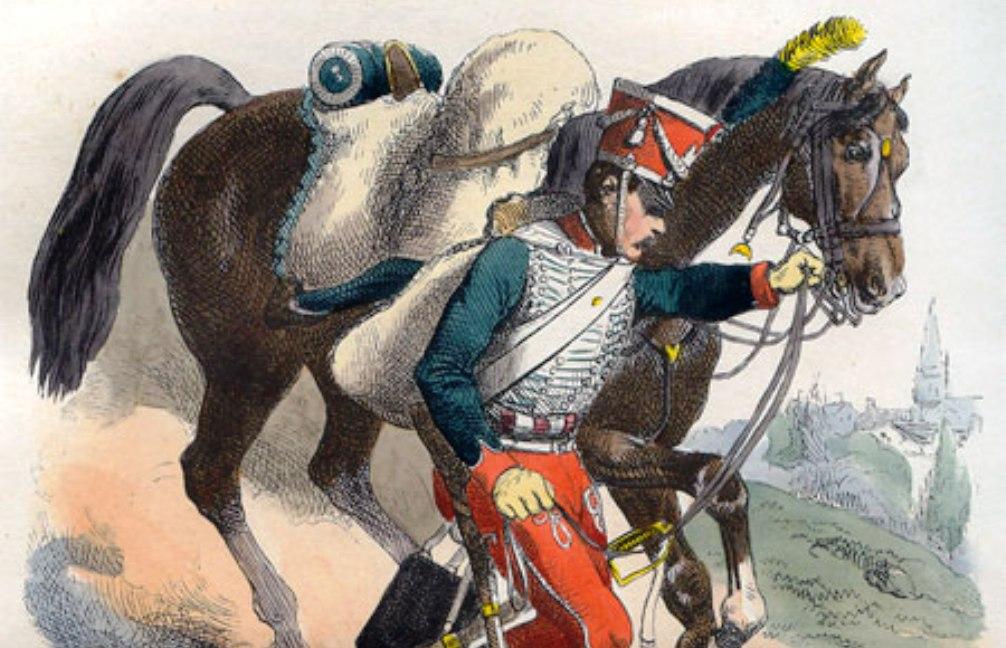 """Garde d'Honneur, 1814. Illustratie uit: P.M. Laurent de l""""Ardeche, Histoire de Napoleon (Parijs 1838).  geillustreerd door Horace Vermet."""