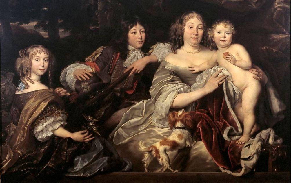 Albertine Agnes van Oranje-Nassau en haar drie kinderen geschilderd door Abraham van den Tempel in 1668. (foto: Wikimedia)