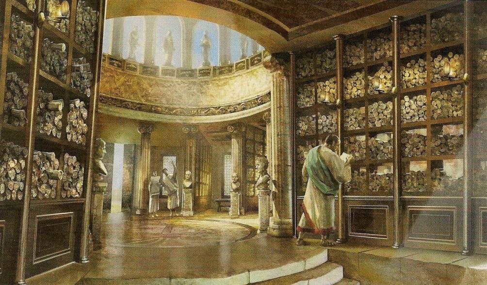 Reconstructietekening van de bibliotheek van Alexandrië.