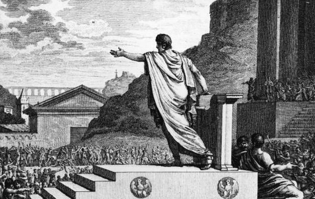 Gaius Gracchus spreekt als tribuun voor de Plebeian Council.