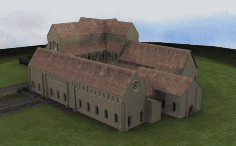 Digitale reconstructie van klooster Claerkamp, gemaakt door van de Noordelijke Hogeschool in Leeuwarden.