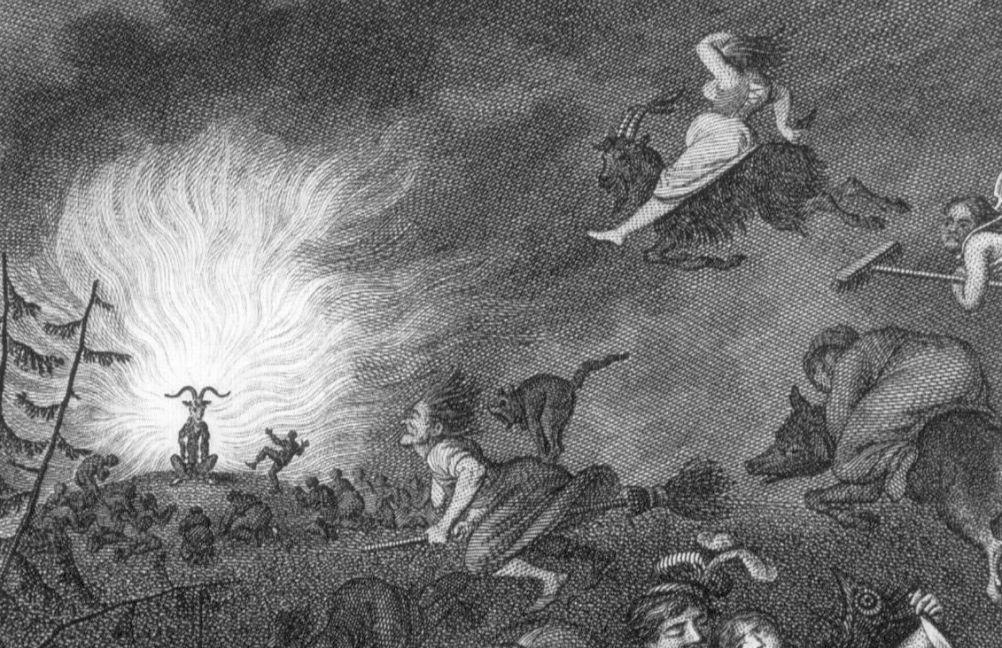 Vele kunstenaars lieten zich inspireren door de Brocken, de hoogste berg van de Harz die als heksenverzamelplaats zou dienen. Hier een detail uit een illustratie uit 1829 van Johann Heinrich Ramberg. Te zien zijn heksen op bokken en bezemstelen die in de nacht van 30 april op 1 mei (Walpurgisnacht ) naar de top van de Brocken vliegen voor een heksenbal met duivels en demonen.