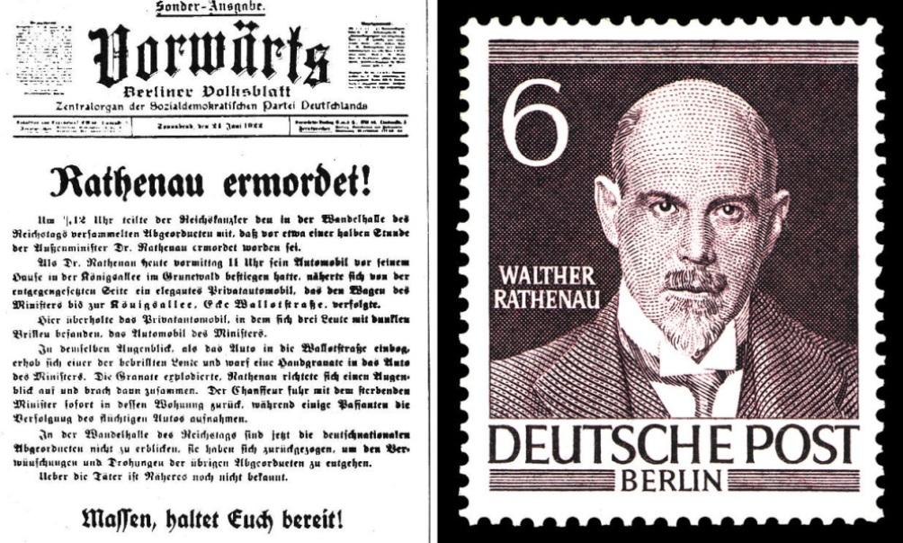 Een krantenbericht over de moord op Walter Rathenau en zijn postzegel uit de reeks 'Mannen uit de geschiedenis van Duitsland', 2008. (foto: Wikimedia)