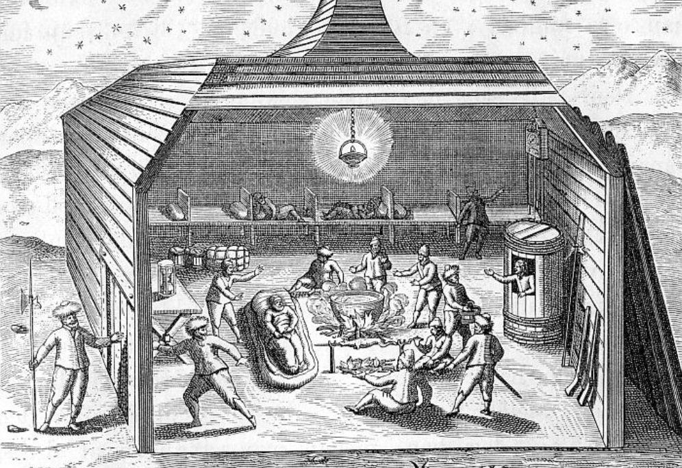 Afbeeldingen van het Behouden Huys op Nova Zembla uit 1880.