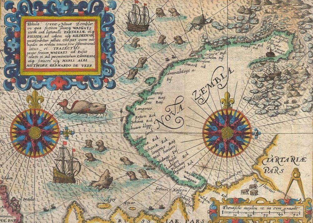 Kaart van Nova Zembla uit 1601 met daarop de route van Barentsz