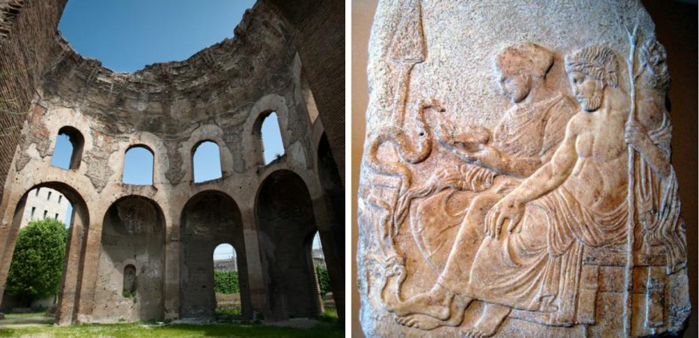 Links: restant van de tempel van Hygieia in Rome, alwaar ze Minerva Medica werd genoemd. Rechts: een reliëf van Asclepius en Hygieia uit eind 5e eeuw v.Chr., collectie Istanbul Archaeological Museums. (foto's: Wikimedia)