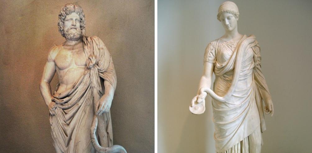 Asklepios, god van de geneeskunde, en zijn dochter Hygieia, godin van de gezonheid. (foto's: Wikimedia)