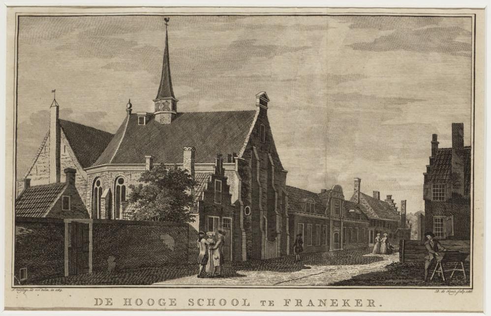 Kopergravure met afbeelding van de Universiteit van Franeker door D. de Jong. (foto: Geheugen van Nederland)