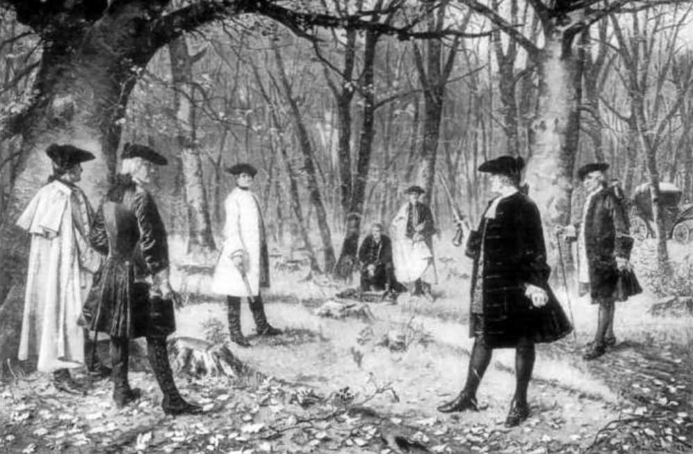 Duels konden op hoog niveau worden uitgevochten. Hier zie je een duel tussen Alexander Hamilton met vice-president van de Verenigde Staten Aaron Burr in juli 1804. Het duel liep dodelijk af voor Hamilton. (foto: Wikimedia)