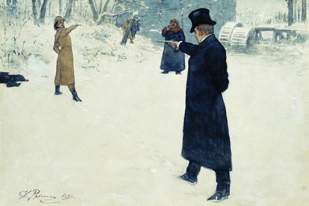 Duel tussen Eugene Onegin en Vladimir Lensky. Illustratie uit 1899. (foto: Wikimedia)