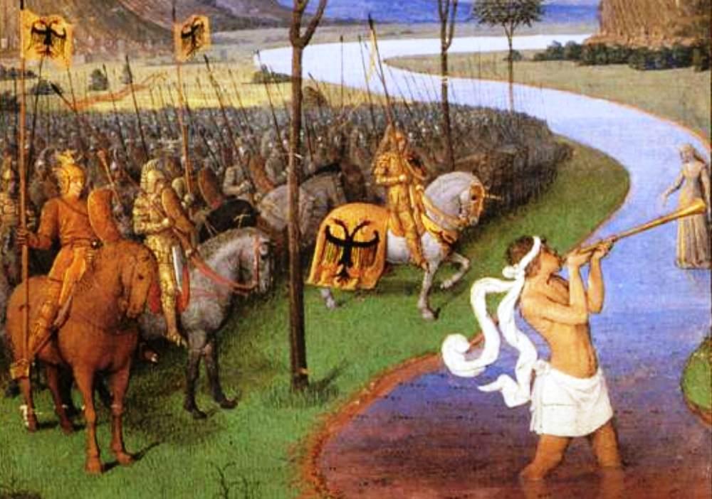 Caesar steekt de Rubicon over op een 15e eeuwse tekening van Jean Fouquet. (foto: Wikimedia)