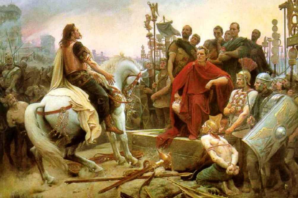 Vercingetorix' overgave aan Ceasar na de slag bij Alesia in 52 v.Chr.. (foto: Wikimedia)