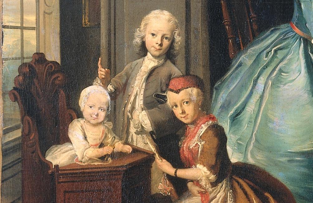 Detail van een schilderij van Cornelis Troost: Familiegroep bij een clavecimbel, 1739.