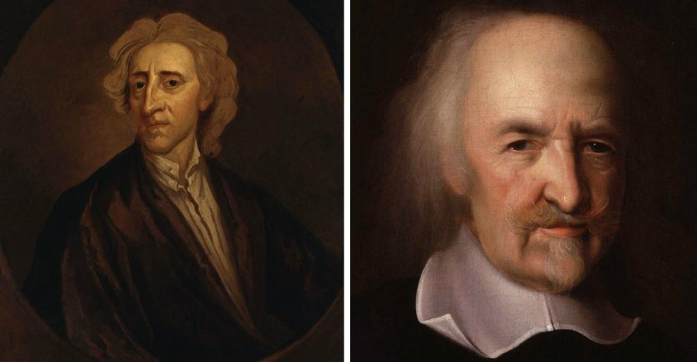 De filosofen John Locke en Thomas Hobbes . (foto's: Wikimedia)