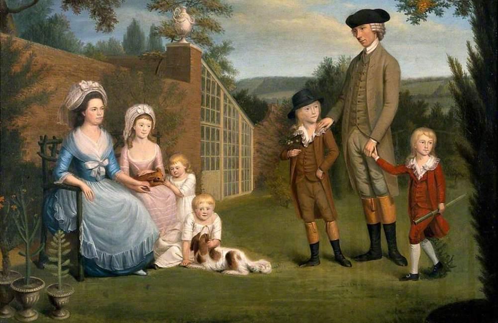 Een 18e eeuws gezin. De vader des huizes is John Coakley Lettsom (1733–1810), een geliefd figuur in 'verlichtte' kringen. (Foto: Wikimedia)