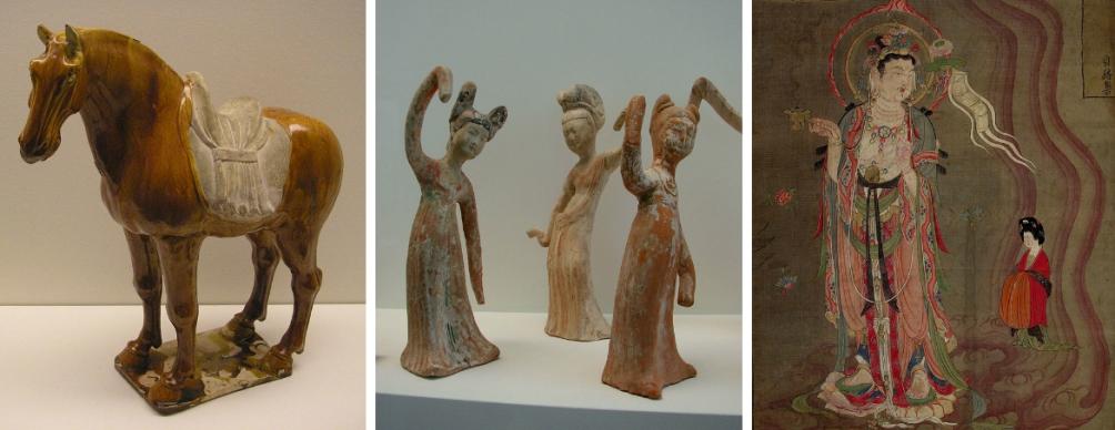 Drie voorbeelden van kunstwerken uit de Tang dynastie.
