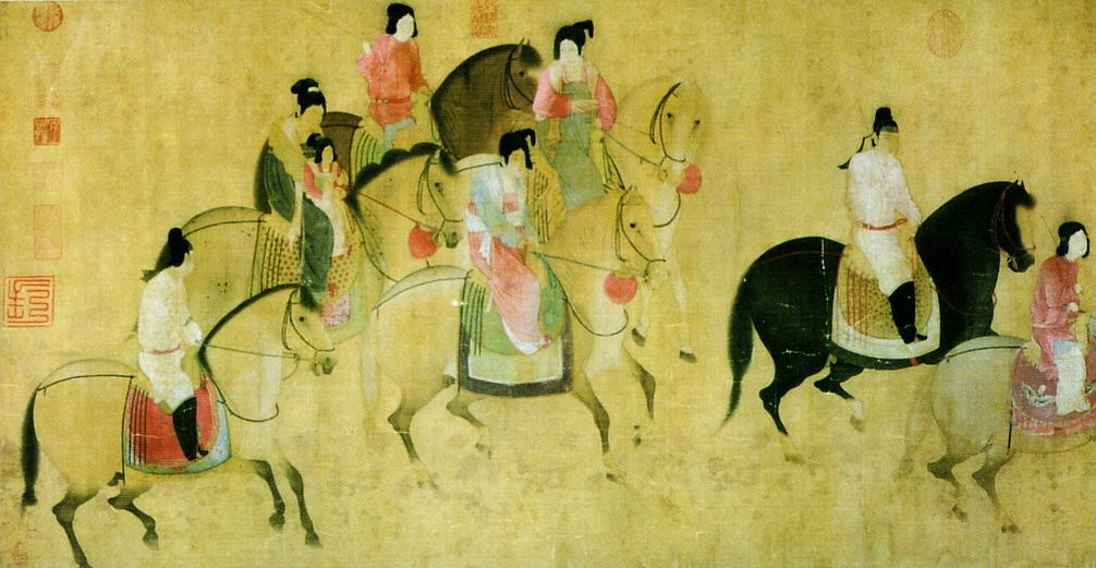 Een kunstwerk uit de Tang Dynasty, 8e eeuw.