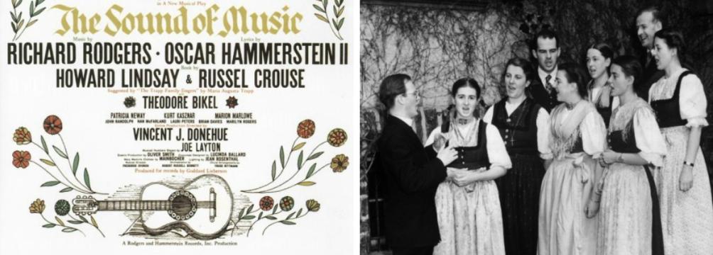 De poster van de succesvolle musical Sound of Music en de oorspronkelijke Von Trapp Family Singers in 1941.