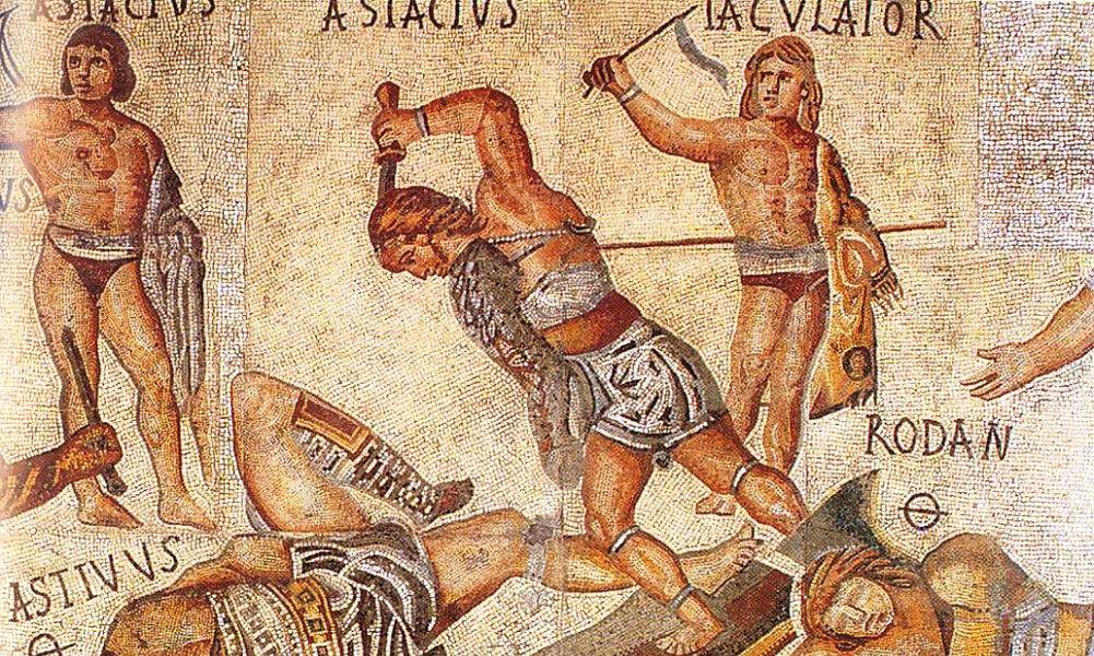 Detail van het bekende 'Gladiator-mozaïek', dat in 1834 gevonden werd buiten Rome. (foto: Wikimedia)