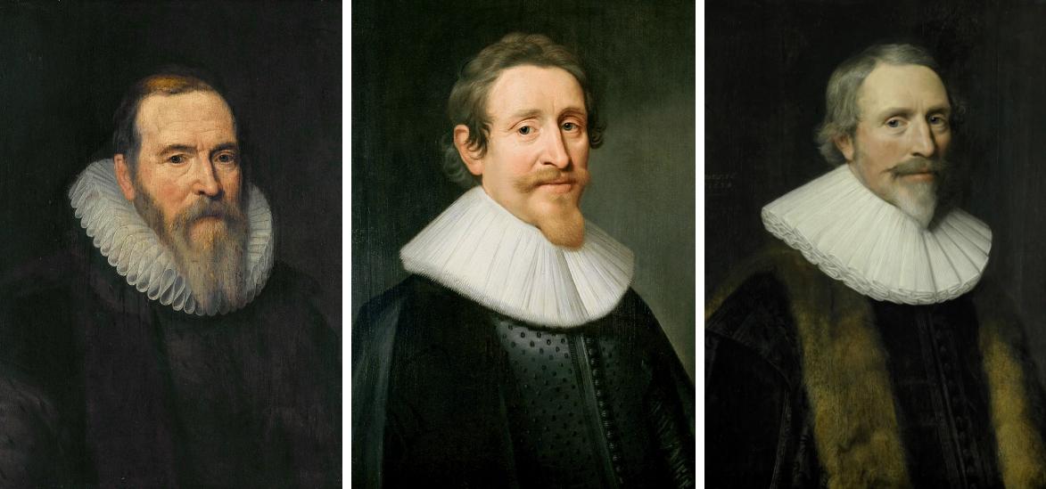 Van Oldenbarnevelt, Hugo de Groot en Jacob Cats, geschilderd door Van Mierevelt.