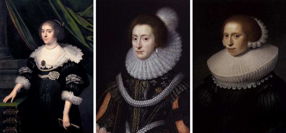 Amalia van Solms, Elizabeth Stuart en een 'portret van een jonge vrouw' geschilderd door Van Mierevelt.