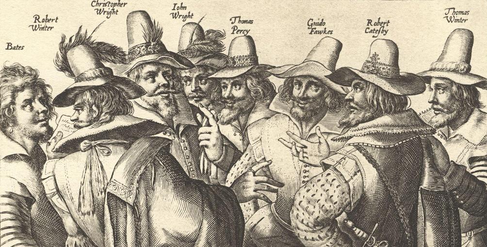 Acht van de dertien samenzweerders, Guy Fawkes (Guido Fawkes) is de derde persoon van rechts. (Deel van een gravure, Beeld: Wikimedia)