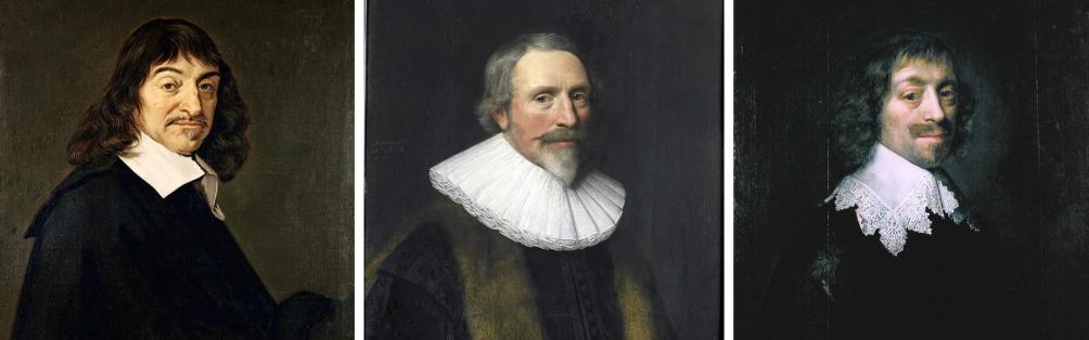 Anna Maria onderhield contact met vele geleerden, zoals (v.l.n.r.) René Descartes, Jacob Cats en Constantijn Huygens. (foto's: Wikimedia)