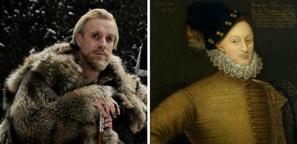 Graaf Edward de Vere in de film Anonymous door acteur Rhys Ifans en op een portret. (foto's Wikimedia)