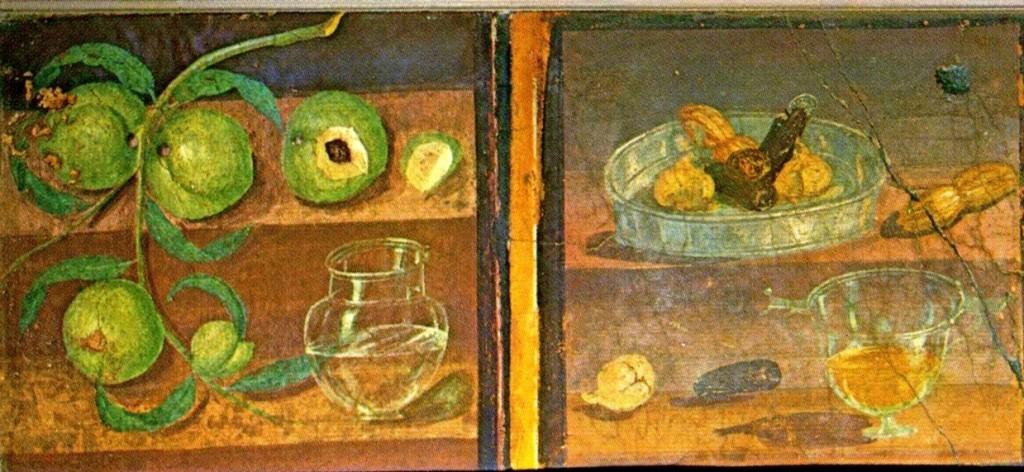 Fresco's uit het Casa dei Cervi in Herculaneum, tussen 45 en 79. (collectie: Museo Archeologico Nazionale, Napels)