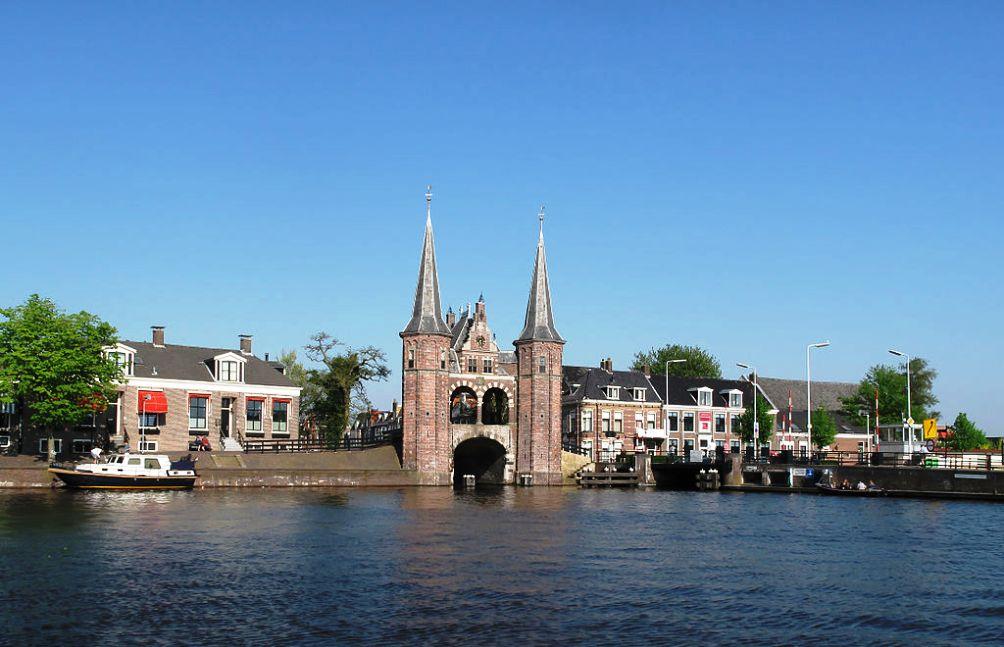 Zicht op Sneek, Friesland.