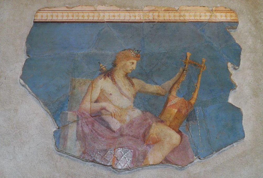 De god en het orakel Apollo met een lier op een fresco in het Huis van Augustus (Palatine Museum, Rome)