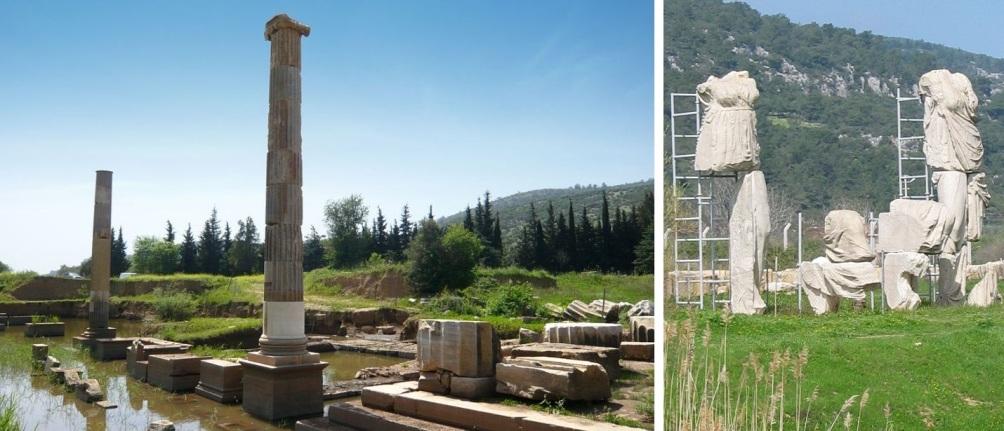Het Grieke heiligdom Klaros met met tempel voor de orakelplaats van Apollo aan de kust van Iona, Turkijke. Bijzonder zijn de hellenistische cultusbeelden die nog steeds op hun plek staan.   (foto's: Wikimedia)