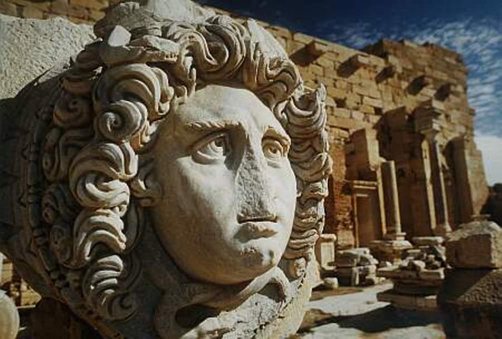 Een Medusa kop op het Forum van de Severii in Leptis Magna in Libië (Foto: Unesco/Mady Dumas)