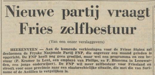Op 13 januari 1962 meldt De Friese Koerier de deelname van de FNP aan de Friese Staten verkiezing. De gevestigde partijen reageren in het artikel afhoudend. Klik op de foto om het origineel te lezen (Foto: De Friese Koerier, via kranten.kb.nl)