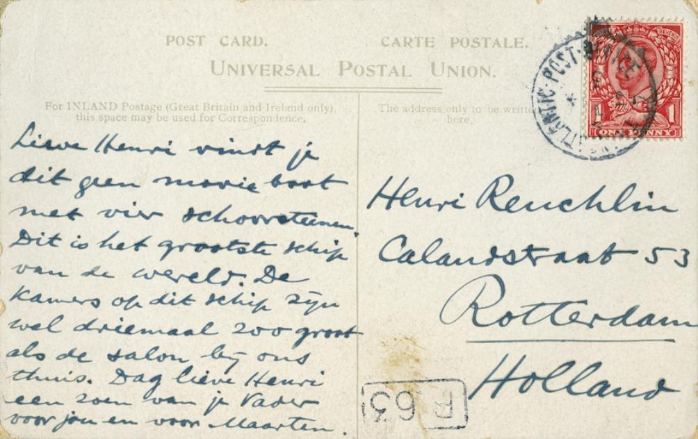 De achterkant van de ansichtkaart die Reuchlin naar zijn oudste zoon Henri stuurde (foto: Gemeentearchief Rotterdam, familiearchief Reuchlin)