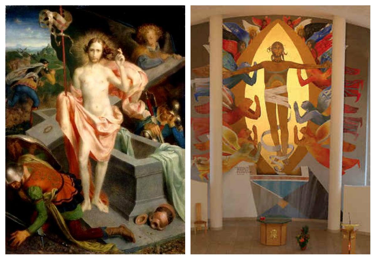 Links: De Opstanding van Theodor Baierl (1881-1932) uit 1920. Rechts: wandschildering uit 1998 van de Franse kunstenaar Arcabas (1926-heden).