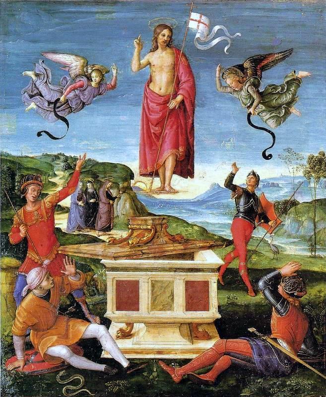 De Opstanding van Christus (1502), geschilderd door Rafaël. Het werk is te bewonderen in het Museum of Art te São Paulo, Brazilië. ( foto: Wikimedia)