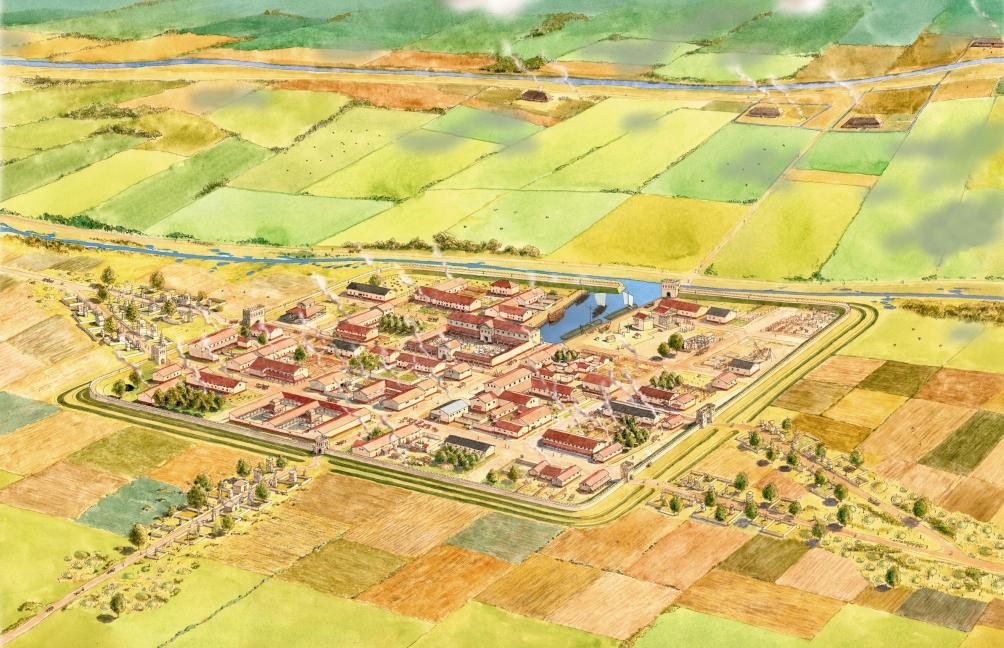 Impressie van Forum Hadriani door illustrator Bob Brobbel. In 2008 werd bij een archeologische opgraving ontdekt dat Forum Hadriani een haven had.  (foto: Bob Brobbel)