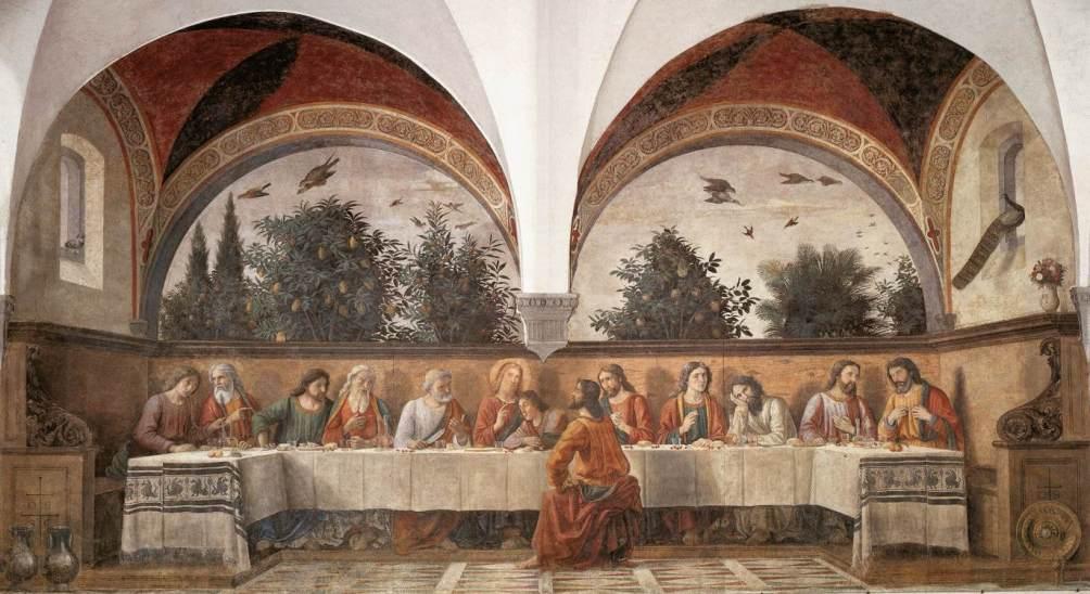 De schildering die Ghirlandaio vier jaar later maakte in de Chiesa di Ognissanti in Florence (foto: Wikimedia)