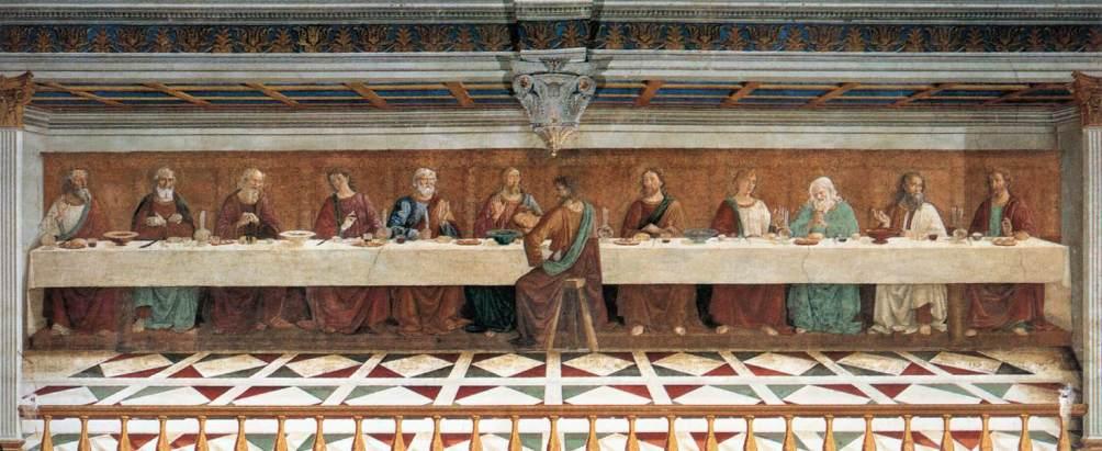 Het Laatse Avondmaal (1476) in de Sant'Appolonia in Florence, door Domenico Ghirlandaio. Ook deze voorstelling is onderdeel van een grotere schildering (foto: Wikimedia)