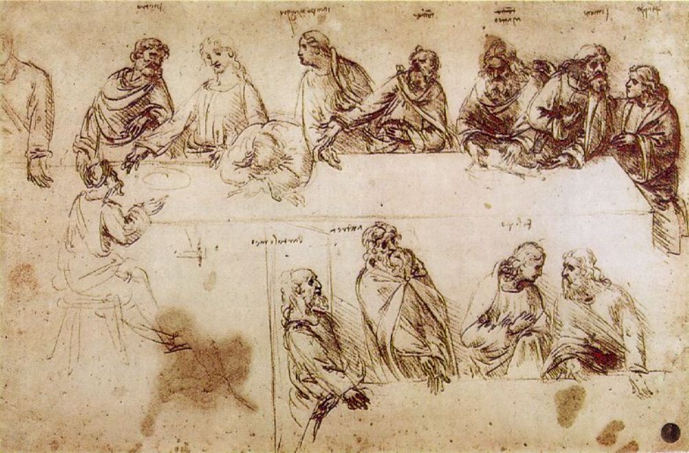 Voorstudie van het Laatste Avondmaal door Leonardo DaVinci.