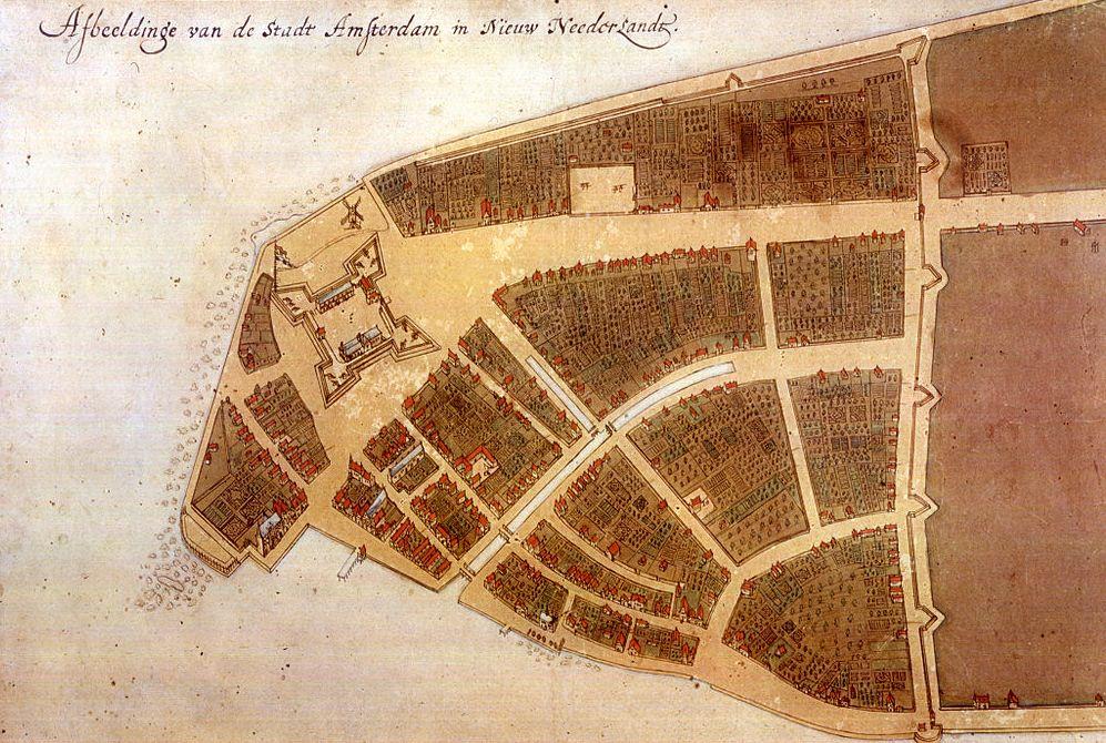"""Kaart van de Nederlandse kolonie van Nieuw-Amsterdam op de zuidpunt van Manhattan. Het fort en de muur (tegen Engelsen en indianen, mogelijk ter plaatse van de latere """"Wall Street"""") zijn zichtbaar. Noorden is rechts. Dit Castello Plan van 1660 is de enige kaart van Nieuw-Amsterdam] uit de Nederlandse tijd."""