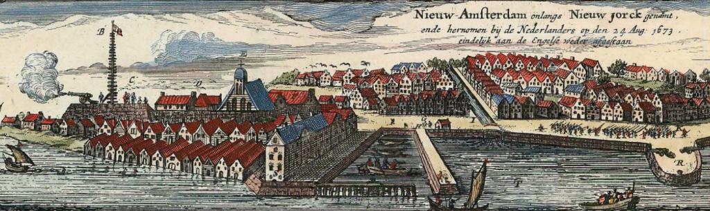 New York in 1673, net nadat de Nederlanders het weer van de Engelsen hebben overgenomen. Dit is te zien aan de soldaten die door de straten marcheren en het afvuren van het kanon op het fort. (Klik op de afbeelding voor een vergroting) Foto:Wikimedia