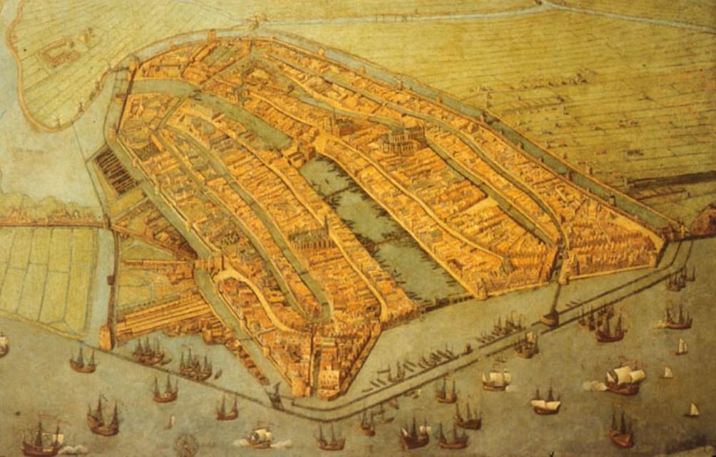 Amsterdam in 1536. De Noord-Zuidlijn is onder de haven gesitueerd en loopt dwars door de stad heen